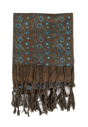 Foulard keffieh coton Roots connection marron bleu