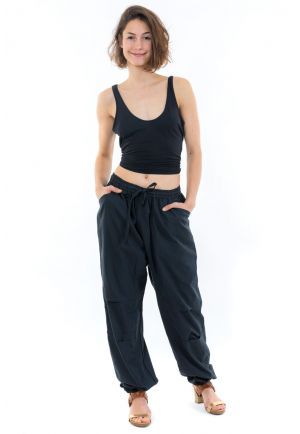 Pantalon sarouel jogging noir mixte face