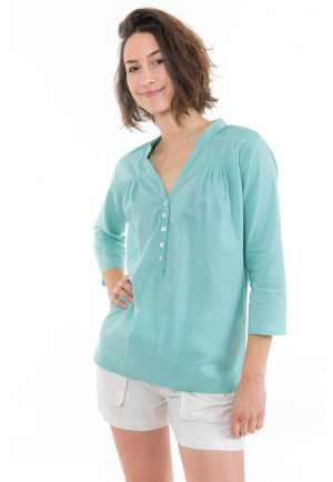 Top blouse coton et nacre Aqua face