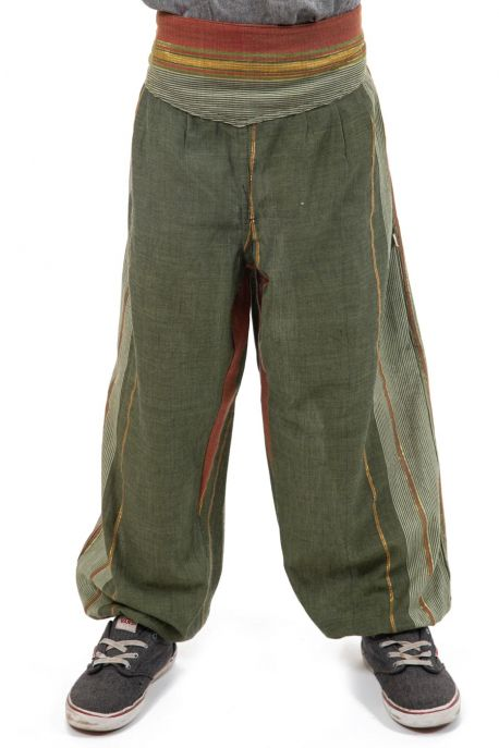 Pantalon aladin enfant green indian sari zoom