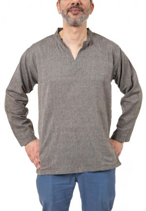 Chemise tunique col mao V homme