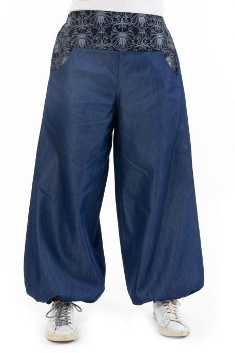 Pantalon large bouffant denim Mayurah
