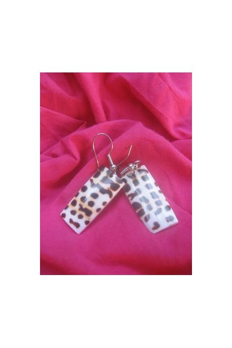 BO308 boucle d oreille coquillage leopard rectangulaire