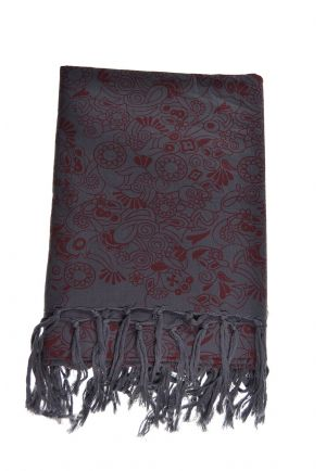 Cheche foulard coton nepali dream gris bordeaux