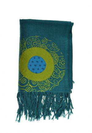 Cheche foulard coton multi patch ethnic print bleu vert