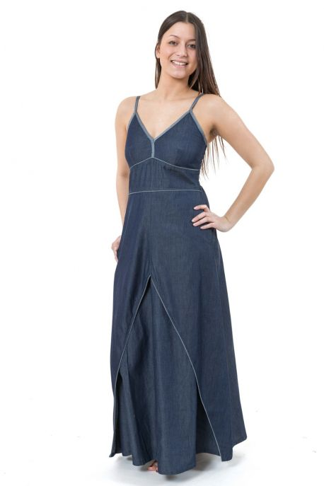Robe longue blue jean denim leger urban ethnic princess