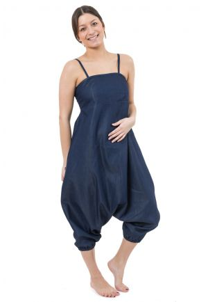 Combi sarouel urban ethnique denim blue jean soft et leger