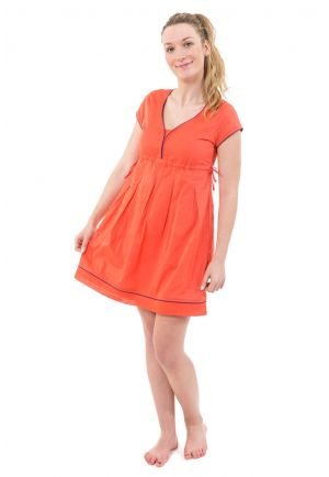 Robe ethnique courte decollete V coton leger rose corail
