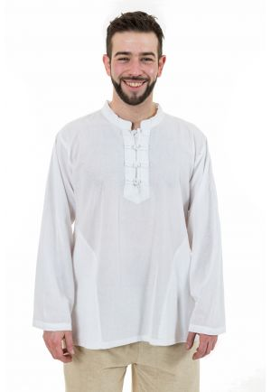 Chemise ethnic asia col mao boutons coton blanc milk Dudha full size