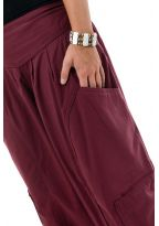 Pantalon sarouel baggy ethnic chic bordeaux Kalaah zoom
