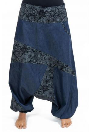 Sarouel mixte jean denim soft imprime ethnic graphic original